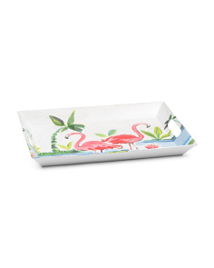 Indoor Outdoor Flamingo Melamine Serving Platter