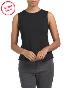 Petite Sleeveless Inverted Pleat Peplum Top
