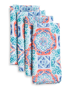 4pc Indoor Outdoor Tilly Medallion Napkins
