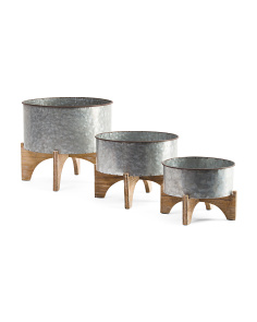 Set Of 3 Footed Planters
