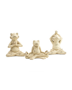 Set Of 3 Outdoor Yoga Frog Decor
