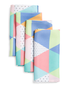 4pc Indoor Outdoor Prismatic Triangles Napkins