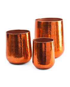 Made In India Set Of 3 Hammered Planters