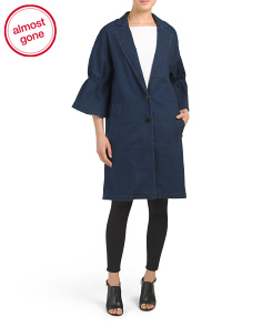Denim Ruflle Sleeve Coat