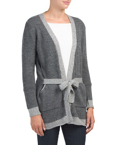 Made In Italy Belted Cardigan With Lurex Trim