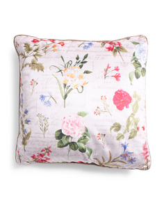 20x20 Velvet Botanical Floral Pillow