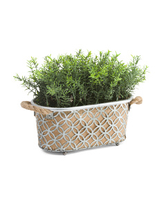 Cutout Pattern Pot With Faux Herbs