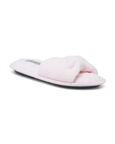 Spa Bow Open Toe Scuff Slippers