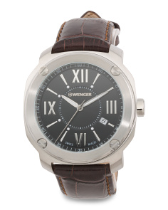 Men's Swiss Made Edge Romans Leather Strap Watch