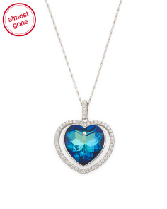 Sterling Silver Swarovski Crystal Heart Necklace With CZ