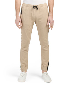 Stretch Twill Joggers With Zip Detail
