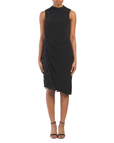 Mock Neck Draped Cocktail Dress