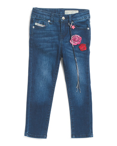 Little Girls Embroidered Rose Jeans