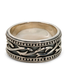 Men's Made In Thailand Sterling Silver Thorn Engraved Ring