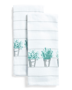 2pk Indoor Herb Kitchen Towels