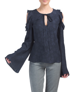 Cold Shoulder Bell Sleeve Silk Blouse