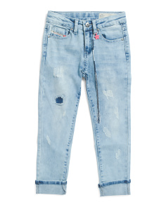 Big Girls Deconstructed Crop Jeans