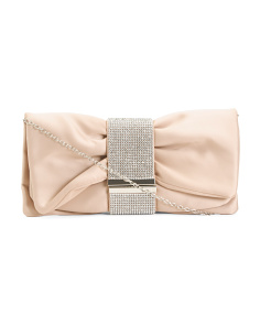 Satin Bow Stone Clutch