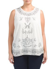 Plus Embroidered Tank