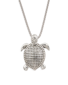 Made In Bali Sterling Silver Beaded Turtle Necklace