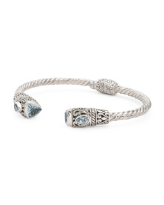 Made In Bali Sterling Silver Blue Topaz Hinged Cuff Bracelet