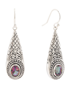 Made In Bali Sterling Silver Mystic Quartz Drop Earrings