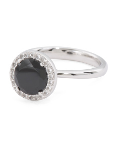 Made In Italy Sterling Silver Black Spinel And CZ Halo Ring