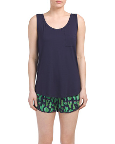 Scoop Neck Tank With Woven Shorts