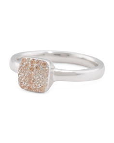 Made In Italy Sterling Silver Morganite Pave Cz Square Ring