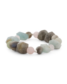 Made In Mexico Sterling Silver Amazonite And Rose Quartz Bracelet
