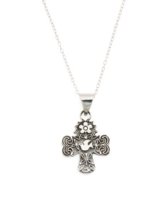 Made In Mexico Sterling Silver Floral Dove Cross Necklace
