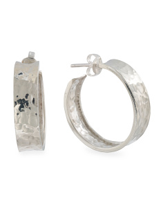Made In Mexico Sterling Silver Hammered Hoop Earrings