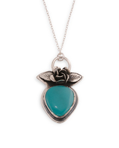 Made In Mexico Sterling Silver Turquoise Floral Necklace