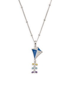 Sterling Silver Enamel Cubic Zirconia Kite Necklace
