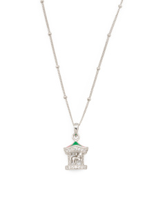 Sterling Silver Enamel CZ Carousel Necklace