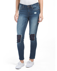 Juniors Lace Knee Skinny Jeans