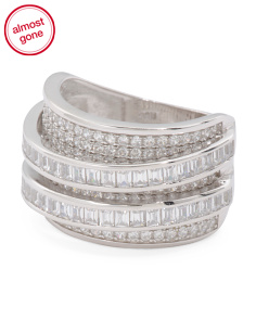 Sterling Silver Cubic Zirconia Tiered Ring