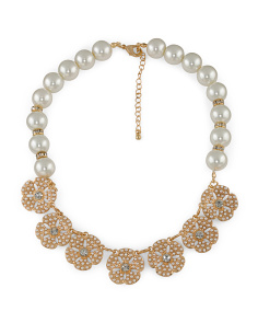 Gold Tone Pearl And Crystal Flower Necklace