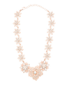 Rose Tone Crystal And Pearl Flower Necklace