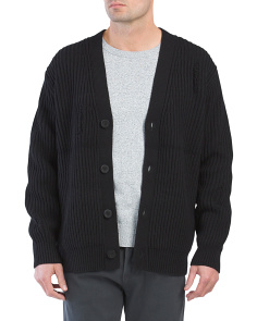 Distressed Wool Blend Cardigan