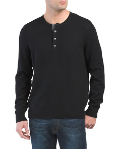 Long Sleeve Cashmere Henley Sweater