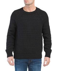 Raglan Crew Neck Wool Blend Sweater