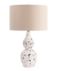 26in Pierced Ceramic Gourd Table Lamp