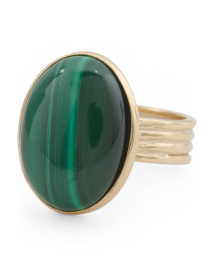 Made In Italy Gold Plated Sterling Silver Malachite Ring