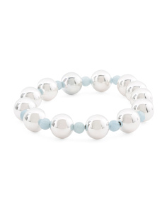 Made In Italy Sterling Silver Aquamarine Bracelet