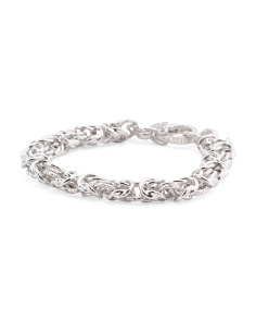 Made In Italy Sterling Silver CZ Byzantine Bracelet
