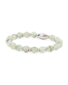 Made In Italy Sterling Silver Prehnite Beaded Bracelet