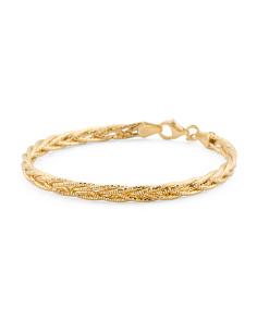 Made In Italy Gold Plated Sterling Silver Braided Bracelet