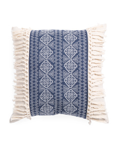 20x20 Embroidered Fringe Pillow