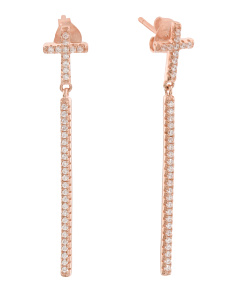 Made In Italy Rose Plated Sterling Silver CZ Cross Earrings